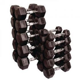 Individual Rubber Hex Dumbbell - 100 lb.