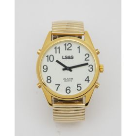 XL Talking Watch Calendar Gold Case Gold Band White Face Black Numbers