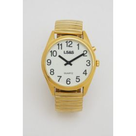 XL Talking Watch Gold Case  Gold Band White Face