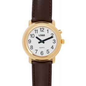 Gold One Button Watch  Brown Leather Band