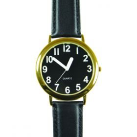 Unisex Low Vision Watch Gold Tone With Black Face  White Numbers and Leather Band