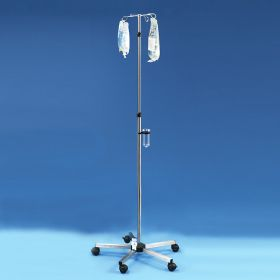 Stainless Steel IV Pole with Spring-Loaded Adjuster