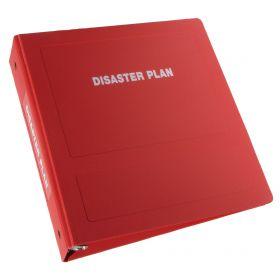 "Disaster Plan Imprinted Ringbinder - 2-1/2"" Side Open 3-Ring, Red"