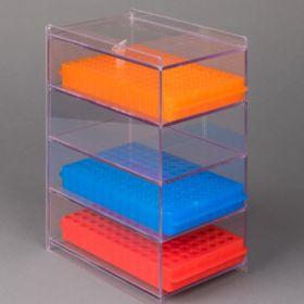 Microtube Tube Rack Organizer 4 Place 0.5 / 1.5 mL Microtube Racks Clear 2-1/4 X 5 X 8 Inch