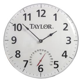 """Taylor 16228M 18"""" Patio Clock and Thermometer"""