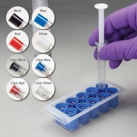 Tamper-Evident Caps for Luer Lock Syringes,Clear Red