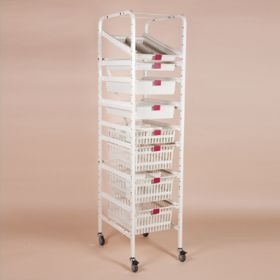 Storage Rack for Easy Exchange Baskets and Trays