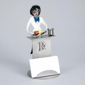Female Pharmacist Steel Sculpture Cardholder