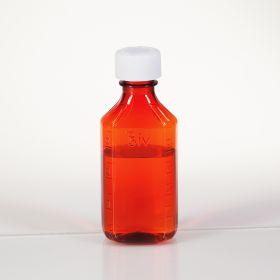 Amber Plastic Oval Medicine Bottles, 4 oz.