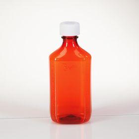 Amber Plastic Oval Medicine Bottles, 8 oz.
