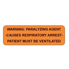 Warning Paralyzing Agent Labels