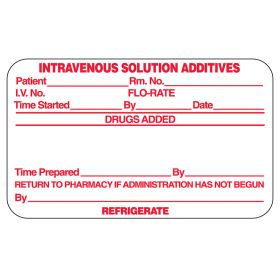 intravenous Solution Additives Labels