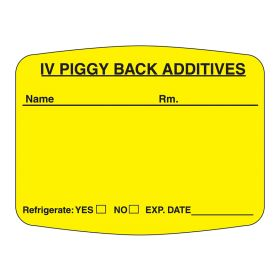 IV Piggy Back Additives Labels