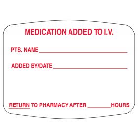 Medication Added To I.V. Labels