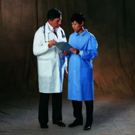 Lab Coat Basic White Large Knee Length Disposable 281491S