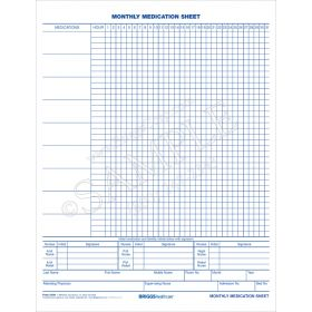 Monthly Medication Sheet 2-Sided Form