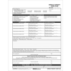 Speech Therapy Care Plan 3596/2P-11