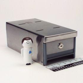Small Locking Refrigerator Storage Box, Stainless Steel