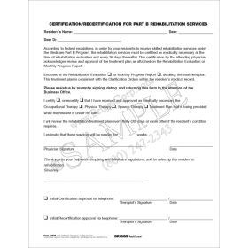 Certification/Recertification for Part B Rehab