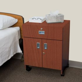 Mobile Locking Bedside Cabinet, Double Door - 5137MW