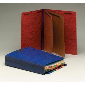End-Tab Pressboard Classification Folder - 2 Dividers, Blue