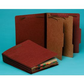 Top-Tab Pressboard Classification Folder - 2 Dividers, Brown