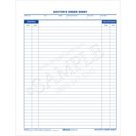 Doctors Order Sheet Form