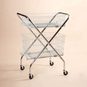 """Folding Wire Cart with 6"""" and 12"""" Baskets"""