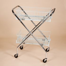"""Folding Wire Cart with 6"""" Baskets"""