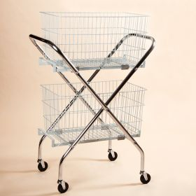 """Folding Wire Cart with 12"""" Baskets"""