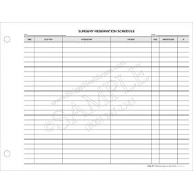 Surgery Reservation Schedule Sheet