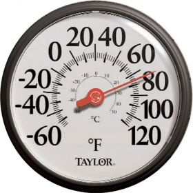 """Taylor 6700 13.5"""" Dial Black and White Easy Read Thermometer"""