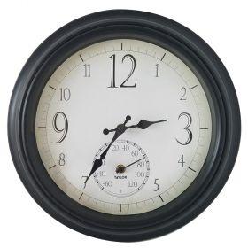 "Taylor 6740 14"" Decorative Clock w/ Thermometer"