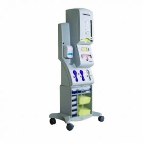 PPE Dispenser Rolling Stand White 19.6 X 17.3 X 50-1/2 Inch Powder-Coated Steel