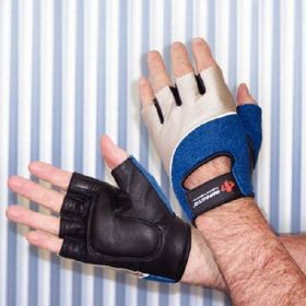 Impact Glove Rolyan Workhard Half Finger X-Small Black / Blue / Gray Right Hand