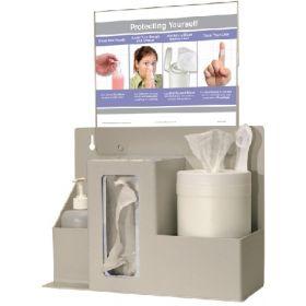 PPE Dispenser BOWMAN Wall Mount 3-Compartment Quartz Beige 5.75 X 11.38 X 15.00 Inch ABS Plastic / PETG Plastic