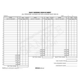 Daily Nursing Sign-In Sheet