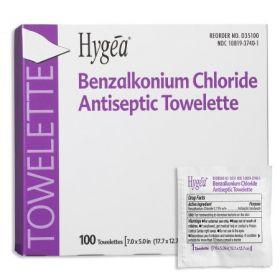 Sanitizing Skin Wipe Hygea Individual Packet BZK (Benzalkonium Chloride) Scented 100 Count