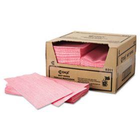 Wet Wipes, 11 1/2 x 24, White/Pink, 200/Carton