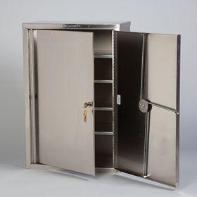 Stainless Steel Narcotic Cabinet, 2 Locks, 2 Doors8222