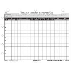 Emergency Generator Monthly Test Log