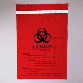 Stick-On Biohazard Bags, Large, 12 x 14