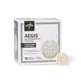 "Aegis CHG-Impregnated 1"" Foam Disk Peel-Open Dressing with 4 mm Hole AEG014SZ"
