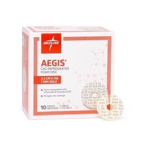 "Aegis CHG-Impregnated 1"" Foam Disk Dressing in Sleeve with 7 mm Hole AEG017SZ"