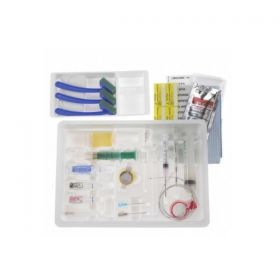 """Continuous Epidural Tray with PERIFIX 18 G x 3.5"""" Tuohy Winged Needle, 27G and 25G Hypodermic Needles, Luer Lock Syringes, 10 mL LOR Syringe, Closed-Tip Catheter, Lidocaine, NaCl Diluent, Clear Plastic and Blue Nonfenestrated Drapes"""
