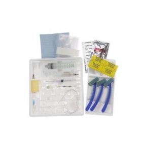 """Short Epidural Tray with PERIFIX 18 G x 2"""" Tuohy Winged Needle, 25G and 18G Hypodermic Needles, 10 mL LOR Syringe, Closed-Tip Catheter, Lidocaine, NaCl Diluent, Clear Plastic Drapes"""