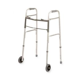 """300-lb. Capacity Dual-Release Folding 32.5""""-39.5"""" Adjustable Height Walker with 5"""" Wheels with Push Button Adjustments"""