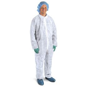 Spunbonded Coveralls with Straight Wrists and Ankles, Size 2XL, White
