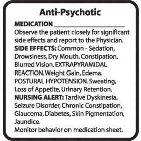 Chemical Restraint Drug Label - Anti-Psychotropic