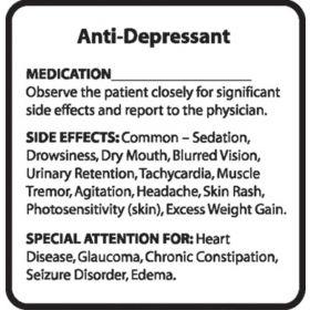 Chemical Restraint Drug Label - Anti-Depressant